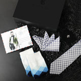 Gift Box: Woven Silk Tie & Pocket Square paired with Fleur De Lis Lapel Pin & Socks