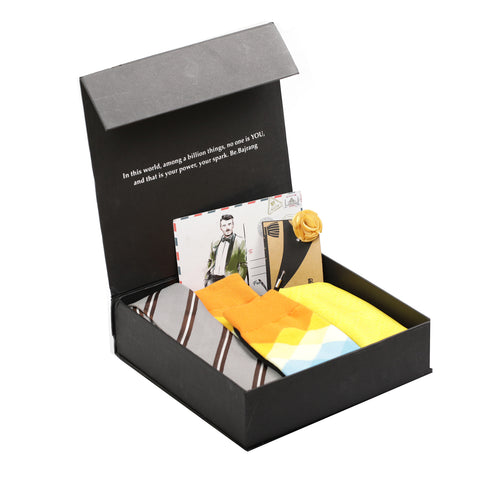 Gift Box: Woven Silk Tie paired with a Solid Pocket Square, Chequred Sock & Flower Lapel Pin