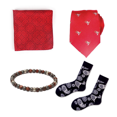 Gift Set: Woven Silk Tie paired with a Solid Pocket Square, Paisley Socks & 6mm Gemstone Beaded Bracelet