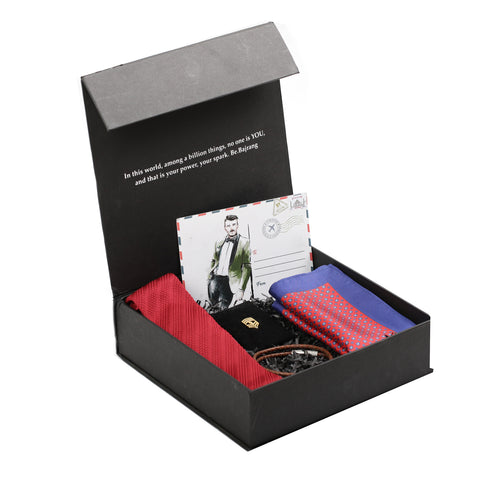 Gift Box: Knitted Tie paired with a Silk Pocket Square, Chevron Badge Lapel Pin & Leather Bracelet