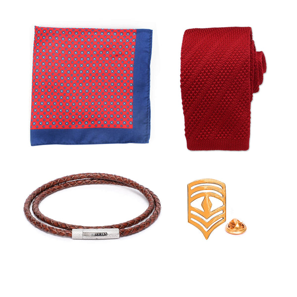 Gift Set: Knitted Tie paired with a Silk Pocket Square, Chevron Badge Lapel Pin & Leather Bracelet