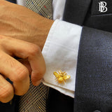 Gift Set: Cotton Tie paired with a Solid Pocket Square, Quirky Bee Cufflink & Lapel Pin