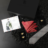 Gift Box: Cotton Tie paired with a Solid Pocket Square, Quirky Bee Cufflink & Lapel Pin