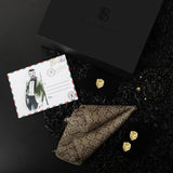Gift Box: Solid Pocket Square paird with Royal Lion Bracelet, Cufflink & Lapel Pin