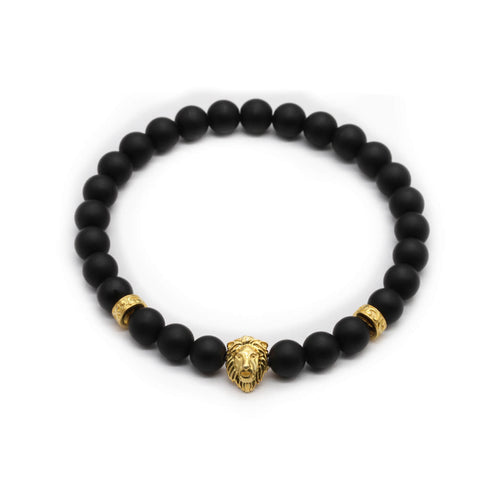 Lion Head Bracelet with Tribal Stoppers in Gold Plating
