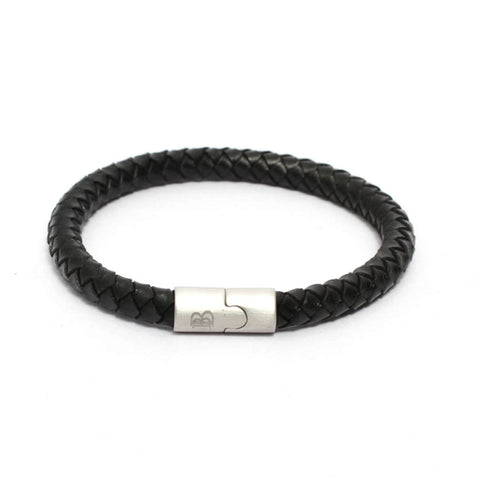 8MM Round Braided Genuine Leather Bracelet