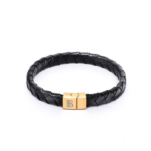 12x6mm Broad Weave Black Flat Leather Bracelet with Magnetic Clasp