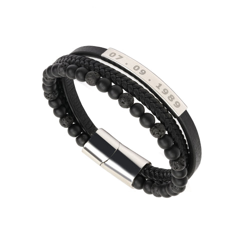 Custom Engraving Multi Layer Beaded and Leather Bracelet in Silver Plating