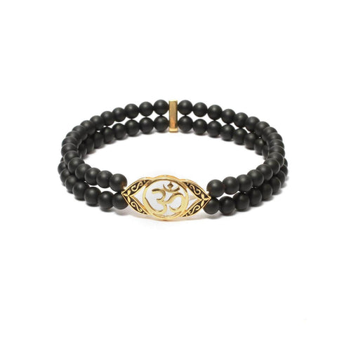 Ornate OM Bracelet in Gemstone Beads & Gold Plating
