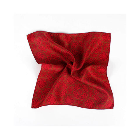 Opulent Two Tone Pocket Square, Deep Red