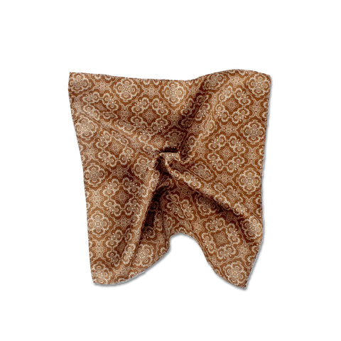 Opulent Two Tone Pocket Square, Brown