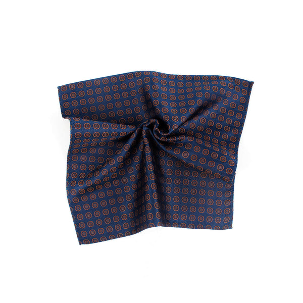 Fashionable Polka Dot Silk Pocket Square,  Deep Blue