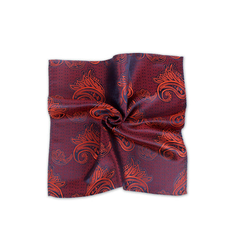 Ceremony Paisley Silk Pocket Square, Burgundy