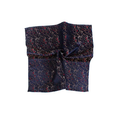 Free Fall Floral Theme Silk Pocket Square, Navy