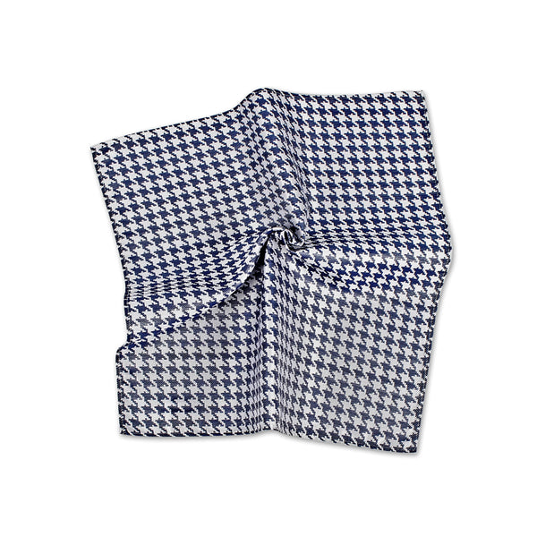 Houndstooth Silk Pocket Square, Blue & White