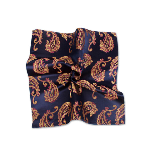 Ceremony Paisley Silk Pocket Square, Dark Blue