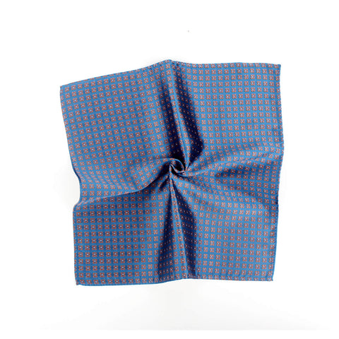 Floral Twist Silk Pocket Square, Blue