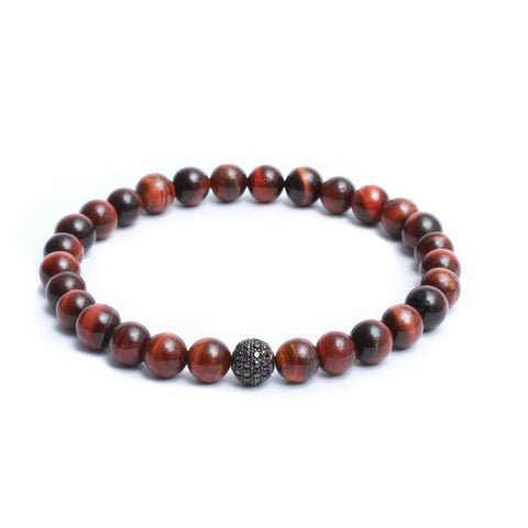 8mm Link Bracelet in Red Tiger Eye Gemstones & Black Plated CZ Bead