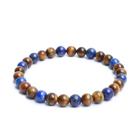 8mm Two Tone Link Bracelet with Yellow Tiger Eye, Lapis Lazuli Gemstones
