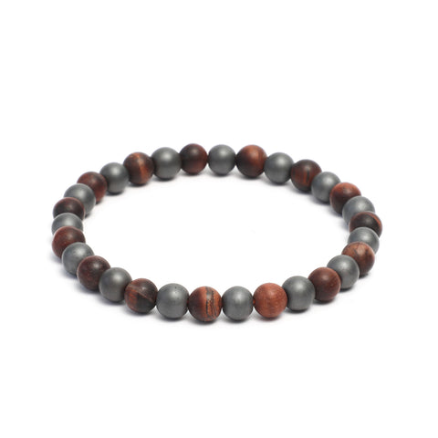 8mm Two Tone Link Bracelet with Tiger Eye, Hematite Gemstones