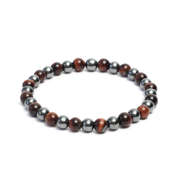 8mm Two Tone Link Bracelet with Polished Tiger Eye, Hematite Gemstones
