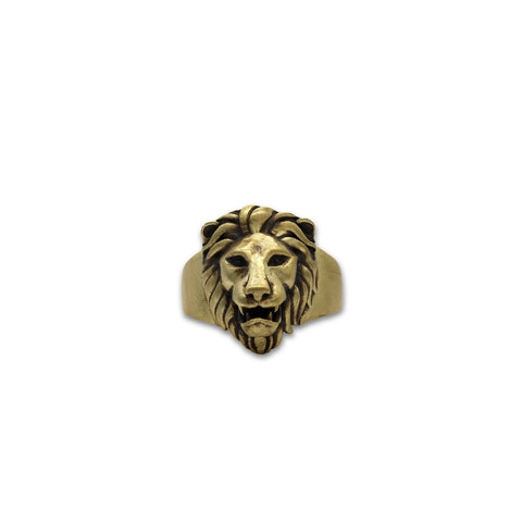 Matte Gold Oxidized Poised Royal Lion Ring