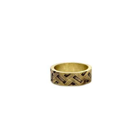 Matte Oxidized Cross Hatch Gold Ring