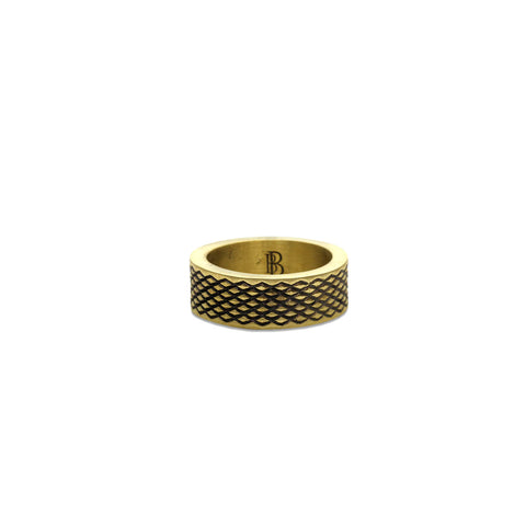 Cross Fence Solid Ring, Gold