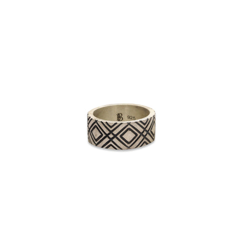 Aztec Chequered Ring, Silver