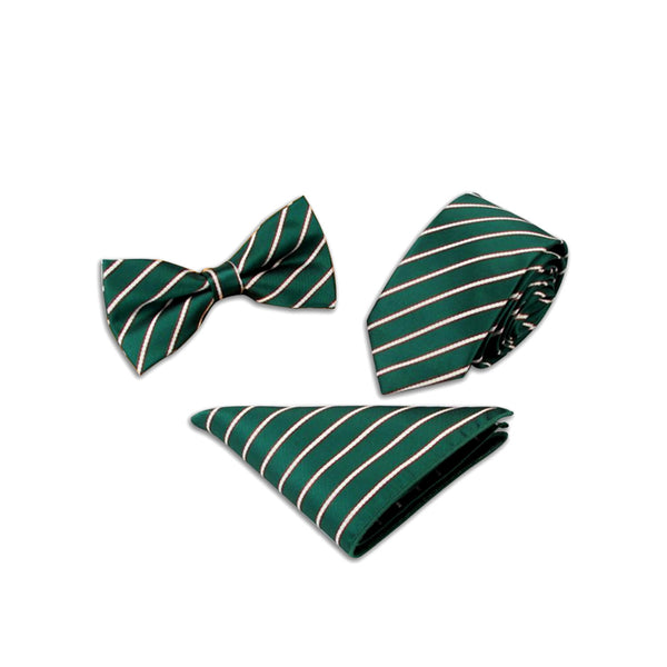 Two Toned Striped Suit Accessories Set, Green