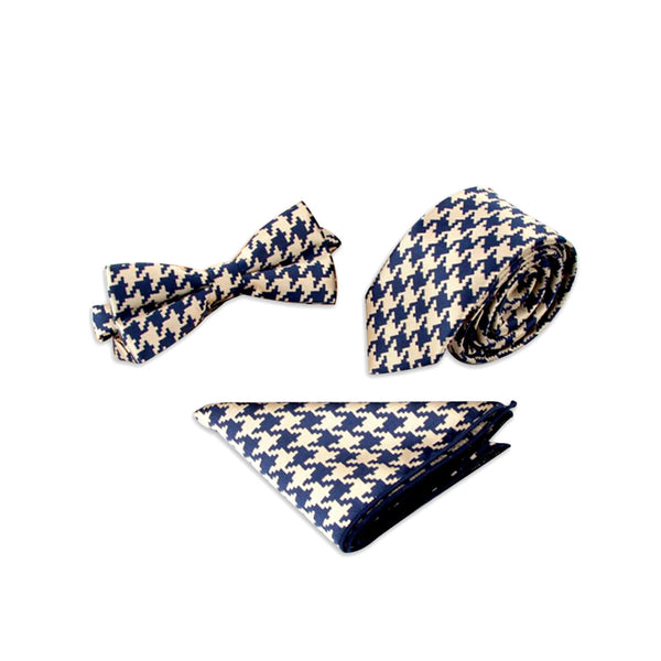 Monochrome Houndstooth Suit Accessory Set, Blue & White