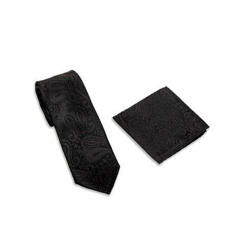 Opulent Paisley Suit Accessories Set, Black