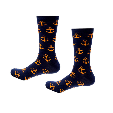 Nautical Anchor Socks, Navy