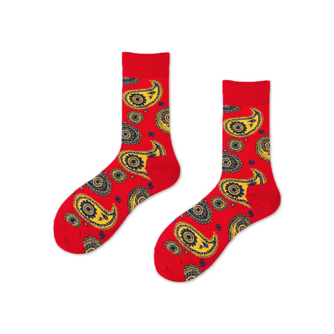 Ceremony Paisley Pattern Socks, Red