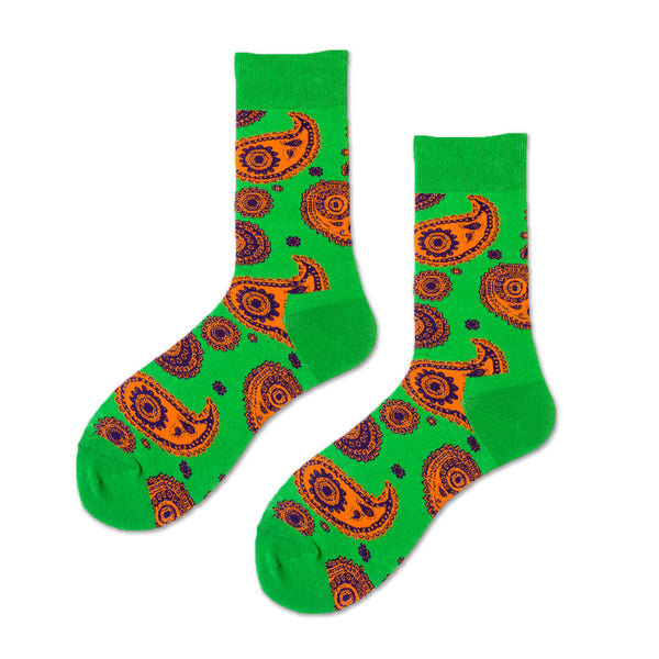 Ceremony Paisley Pattern Socks, Green