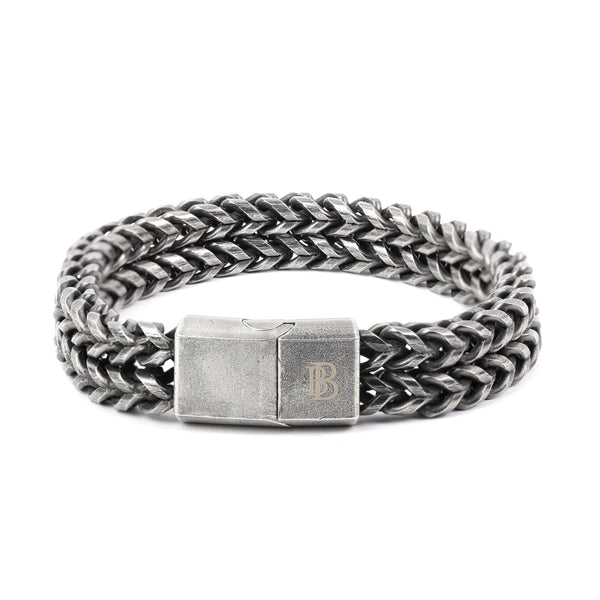 Oxidized Finish Stainless Steel Double Layer Chain Bracelet