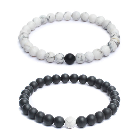 Forever US Matching Distance Bracelets in Black Onyx & Howlite Gemstone Beads