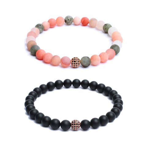 Bracelet Combo: Beaded Link Bracelets in Mix Moonstone, Black Onyx Gemstone Beads