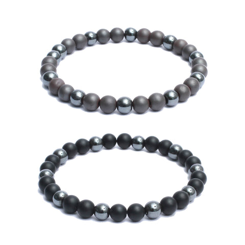 Bracelet Combo: Beaded Link Bracelets in Hematite, Black Onyx Gemstone Beads