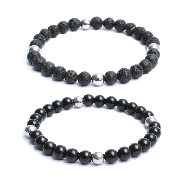 Bracelet Combo: Beaded Link Bracelets in Volcanic Lava, Black Onyx Gemstone Beads