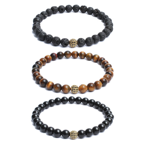3 Bracelet Combo: Beaded Link Bracelets in Volcanic Lava, Black Onyx, Yellow Tiger Eye Gemstone Beads