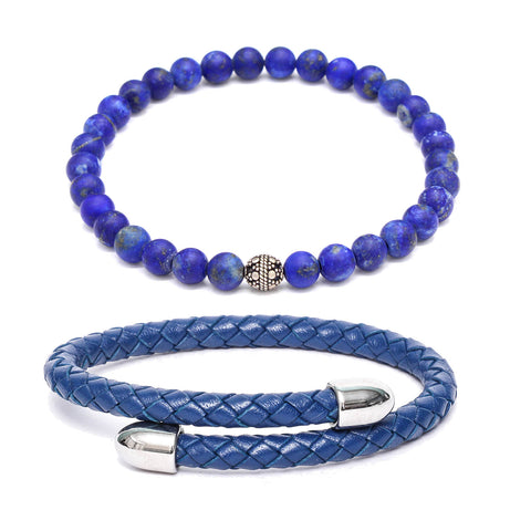 Bracelet Combo: Blue Leather Cuff Bracelet & Link Bracelet in Lapis Lazuli Gemstone Beads