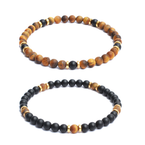 Bracelet Combo: Beaded Link Bracelets in Onyx, Tiger Eye, Hematite Gemstone Beads