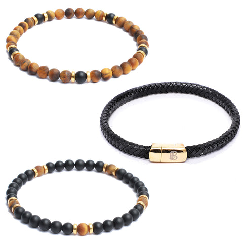 Bracelet Combo: Flat Black Leather Bracelet & Beaded Link Bracelets in Onyx, Tiger Eye Gemstone Beads