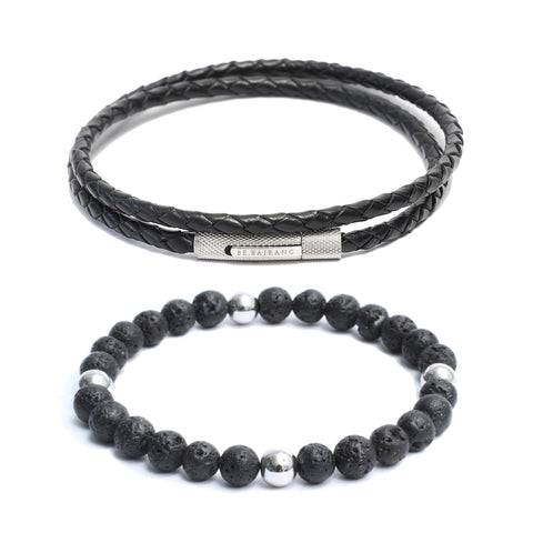 Bracelet Combo: Black Leather Wrap Bracelet & Beaded Link Bracelets in Volcanic Lava Beads