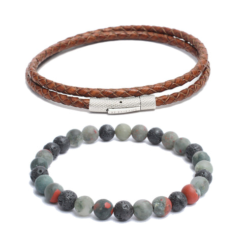 Bracelet Combo: Brown Leather Wrap Bracelet & Beaded Link Volcanic Lava, African Blood Gemstone Beads
