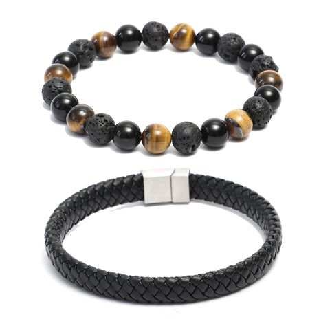 Bracelet Combo: Flat Black Leather Bracelet & Beaded Link Bracelets in Onyx, Tiger Eye, Lava Gemstone Beads