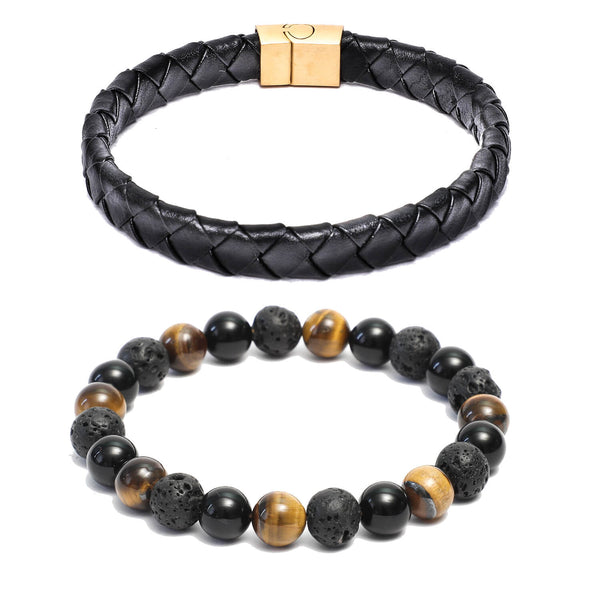 Bracelet Combo: Flat Broad Weave Black Leather Bracelet & Beaded Link Bracelets in Gemstone Beads