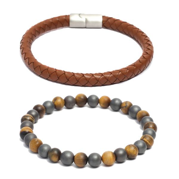 Bracelet Combo: 8mm Brown Round Leather Bracelet & Link Bracelet in Tiger Eye, Hematite Gemstone Beads
