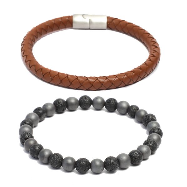Bracelet Combo: 8mm Brown Round Leather Bracelet & Link Bracelet inVolcanic Lava, Hematite Gemstone Beads